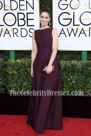 Amanda Peet Long Backless Evening Prom Gown 2017 Golden Globes