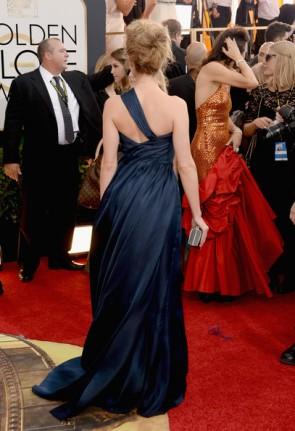 Amber Heard Dunkles Marine-Abschlussball-Kleid 2014 Golden Globe Awards Red Teppich
