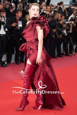 Amber Heard One Shoulder Burgundy High Slit Evening Dress 2019 Cannes Film Festival TCD8503