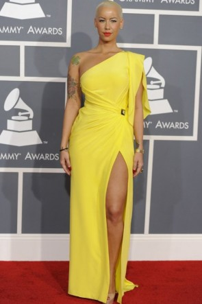 Amber Rose Yellow One Shoulder Prom Dress 2012 Grammy Award Red Carpet