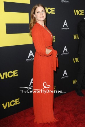 Amy Adams Red Deep V-neck Pleated Evening Dress Premiere Of 'Vice' TCD8203