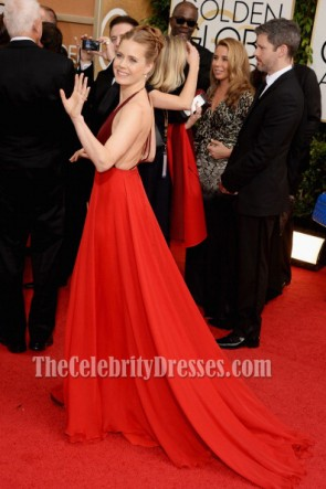 Amy Adams Backless Promkleid 2014 Golden Globe Awards Roter Teppich