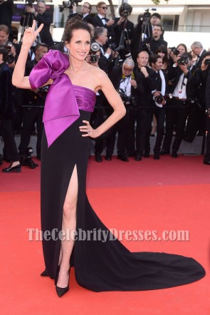 Andie MacDowell Black And Purple One-shoulder Slit Prom Evening Dress 2017 Cannes Film Festival