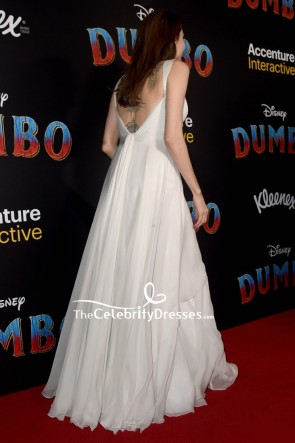 Angelina Jolie weiße A-Linie Abendkleid 'Dumbo' Premiere