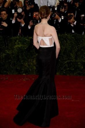Anna Kendrick Weißes Und schwarzes Formales Kleid 2014 Met Gala Roter Teppich