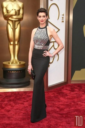 Anne Hathaway Black Beaded Evening Dress 2014 Academy Awards Red Carpet