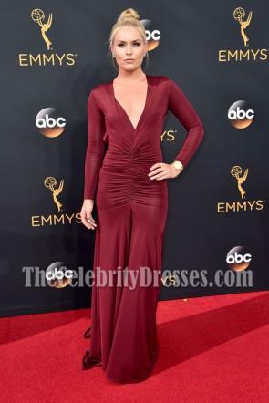 Athlete Lindsey Vonn Burgundy Deep V-neck Evening Dress 68th Annual Emmy Awards 3