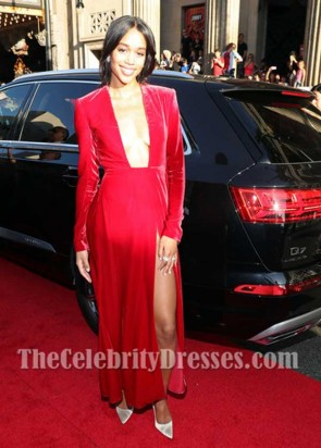 Laura Harrier Red Low Cut Long Sleeves Kleid Premiere von Columbia Bilder Spider-Man: Heimkehr