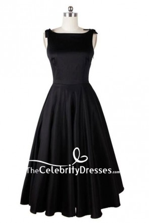 Audrey Hepburn Vintage Tea Length Black Dress TCD8048