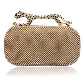 New Fashion Clutch Diamond Leopard Head Banquet Evening Bag Packet Upscale Atmosphere TCDBG0056