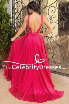 Longueur de plancher rouge A-ligne dos nu formelle robe de bal robe de soirée