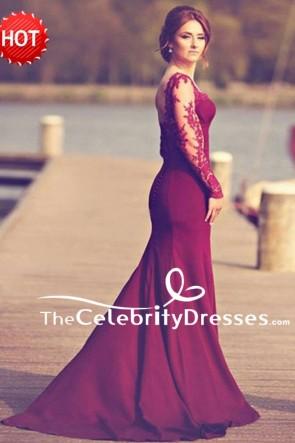 Elegant Bourgogne sirène manches longues soirée formelle robes avec des appliques