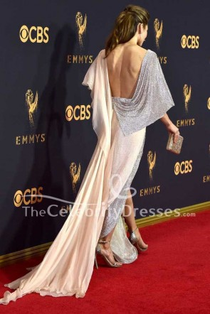 Jessica Biel High Split Abendkleid 2017 Emmy Awards Rotes Kleid