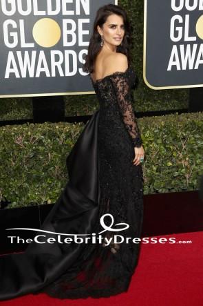 Penelope Cruz Schwarzes Abendkleid 2018 Golden Globe Awards Kleid aus rotem Teppich