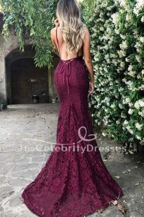 Robes de bal formelles sans manches sexy en dentelle bordeaux robe de soirée