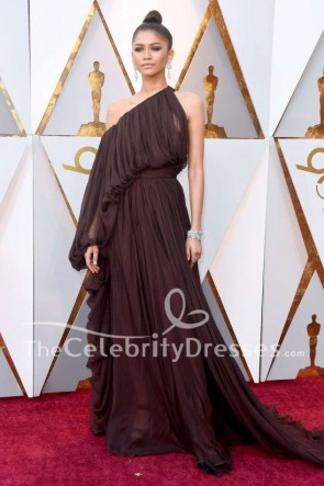 Zendaya 2018 Oscars Chocolate One Sleeve Evening Dress Red Carpet Gown TCD7766
