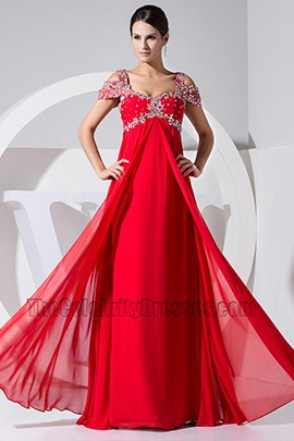2013 New Style Red Chiffon Formal Dress Prom Dresses With Beading