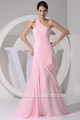 2013 Prom Dress Pink One Shoulder Evening Gown Celebrity Inspired Dresses