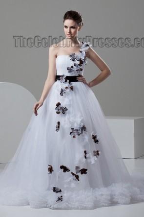 A-Line Chapel Train One Shoulder Wedding Dresses