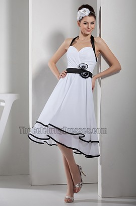 A-Line Halter Knee Length White And Black Cocktail Party Dress