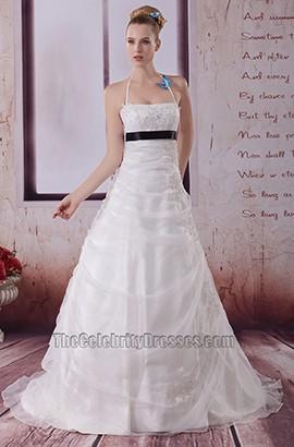 A-Line Halter Organza Embroidery Wedding Dresses