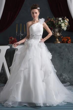A-Line One Shoulder Organza Chapel Train Wedding Dresses
