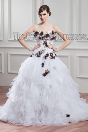 A-Line Strapless Chapel Train Organza Wedding Dresses