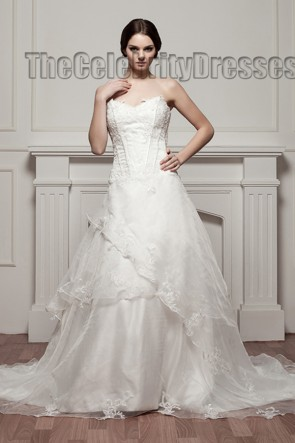 A-Line Strapless Chapel Train Wedding Dress Bridal Gown