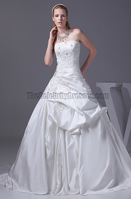 A-Line Strapless Embroidery Court Train Wedding Dress