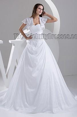 A-Line Strapless Sweetheart A-Line Beaded Chapel Train Wedding Dresses