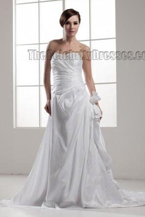 A-Line Strapless Sweetheart Beaded Taffeta Wedding Dress