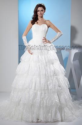 Promi inspirierte A-Linie trägerlosen Schatz Spitze Brautkleid