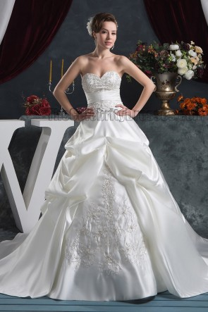 A-Line Strapless Sweetheart Embroidered Chapel Train Wedding Dresses