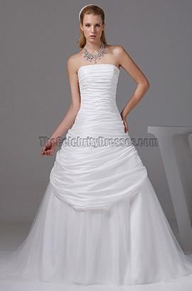 A-line Strapless Court Train Taffeta Wedding Dresses