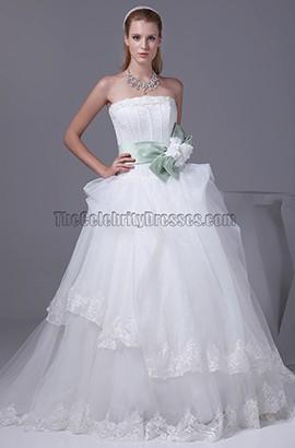 A-line Taffeta Organza Court Train Wedding Dresses