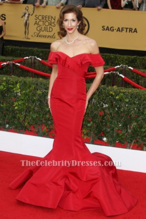 Alysia Reiner Rot Off The Schulter Formeller Abend 21st SAG Awards Roter Teppich TCD6192