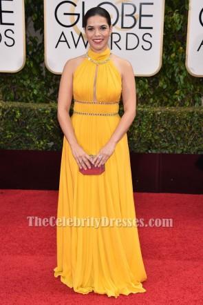 Amerika Ferrera 73. Jährliche Golden Globe Awards Gelbe formale Kleid