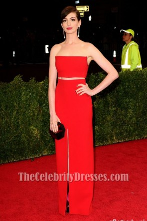 Anna Hathaway Red Prom Dress MET Gala 2014 Red Carpet