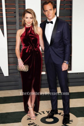 Arielle Vandenberg rotes Halfter Abendkleid Oscars 2015 roter Teppichkleid