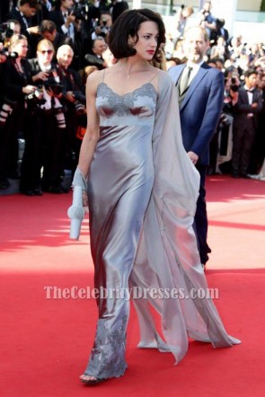 Asia Argento Silver Evening Dress 2013 Cannes Film Festival Red Carpet Gown TCD6531