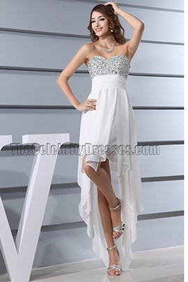 Chic Asymmetric White Cocktail Dress Prom Evening Gown