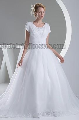 Discount Ball Gown Short Sleeve Organza Wedding Dress