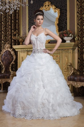 Ball Gown Spaghetti Straps Beaded Chapel Train Wedding Dres