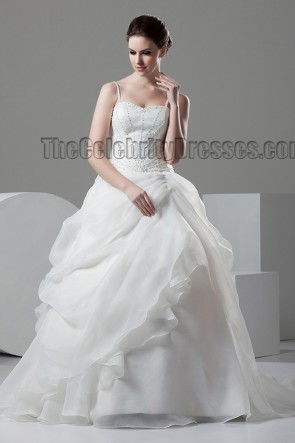 Ball Gown Spaghetti Straps Beaded Chapel Train Wedding Dresses