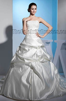 Ball Gown Strapless Beaded Embroidered Chapel Train Wedding Dress