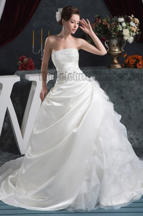 Ball Gown Strapless Embroidered Chapel Train Wedding Dresses
