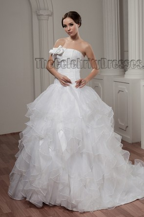 Ball Gown Strapless Organza Chapel Train Wedding Dresses