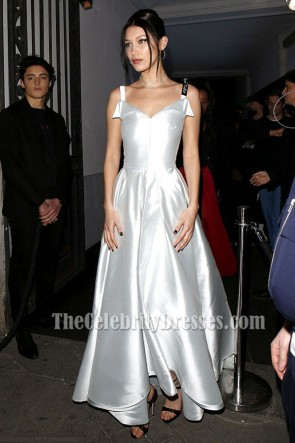 Bella Hadid Silver A-Lin Ball Gown Prom Evening Dress 2017 Paris Fashion Week