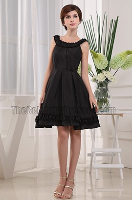 Short Black A-line Homecoming Party Graduation Dresses