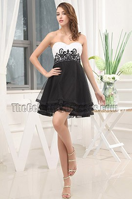 Black And White Embroidery Party Cocktail Homecoming Dresses